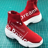 Balenciaga Speed Stretch Knit Mid Sneakers Red Speed Trainers Sale