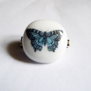 Blue Butterfly Glass Brooch by SimonAldersonGlass on Etsy