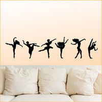 Dancing Girls set of six - wall art design vinyl sticker decal