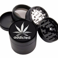 "Addicted Design - 2.25"" Premium Black Herb Grinder - Custom Designed"