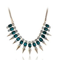 Lureme Punk Green Crystal Gold Tone Rivet Spike Fringe Statement Choker Necklace for Women 01000838-1*