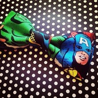 Captain America fabric bow tie or hair bow from Bowlicious Divas Bowtique