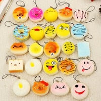 HOT!!!12PCS/Bag Squishy Kit Bread Scented Doughnut Toast Cone Hamburger Phone Straps Kids Gift Collectible