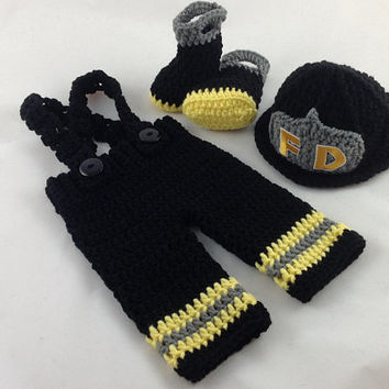 Baby Firefighter Fireman Black Hat Crochet Outfit 4 PC Turn Out Gear with Suspenders & Boots Newborn Photography Prop