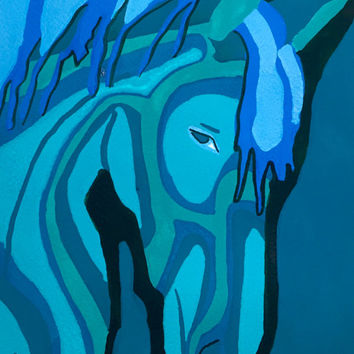 Turquoise Horse Art Print, Horse Art Print, Horse Art Work, Abstract Art Print, Animal Art