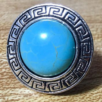 Turquoise and Tibetan Silver Adjustable Ring