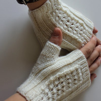 Hand knit lace fingerless gloves.