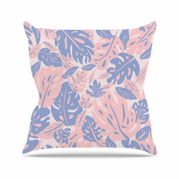 "Will Wild ""Rose Quartz & Serenity Jungle"" Pink Floral Throw Pillow"