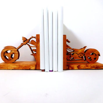 Chopper bookend, bookends, Gifts for Dad, Motorcycle book ends, Fathers day gift, book ends, wooden bookends, bookends, chopper bookends