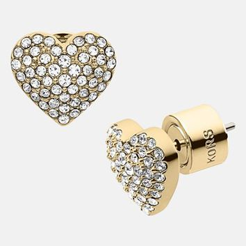 Michael Kors 'Brilliance' Pave Heart Stud Earrings