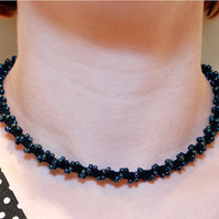 Necklace Kumihimo Fiber & Beads Black and Blue