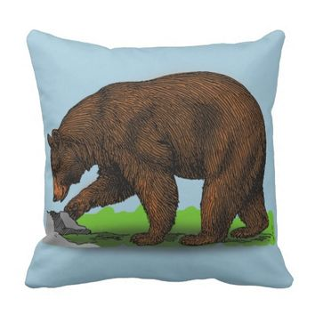 Log cabin lodge decor Pillow, Grizzly
