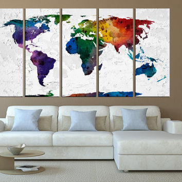 world map canvas art print, watercolor world map wall art, large canvas print, extra large wall art, world map canvas modern art t560