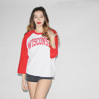 1980s Vintage Red Champion Athletics Wisconsin Ringer Jersey T Shirt