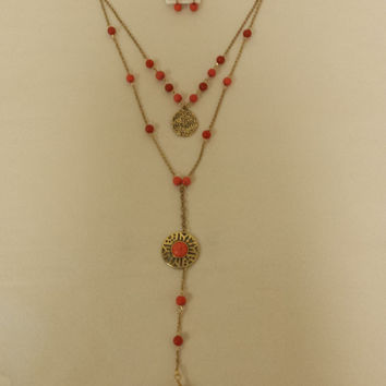 Stone Drop Layer Necklace Set, Antique Gold and Coral