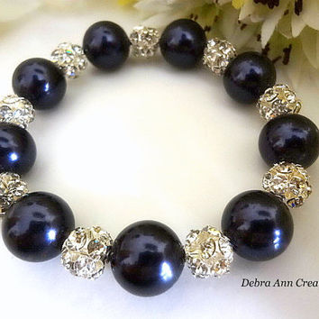 Swarovski Dark Purple Pearl Crystal Bracelet Eggplant Purple Wedding Bridal Jewelry Purple Bridesmaid Bracelet Mother of Bride Groom Gift