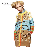 ELF SACK 2016 Autumn Spring Women Color Block Sweater Women's Leopard Print Jacquard Fashion Long Cardigan
