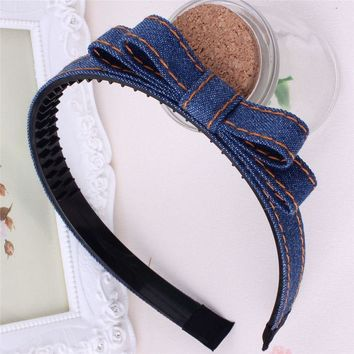 Baby girl's Classic Plaid headdress cute denim bow headwear hair accessories for children make kids fashion lovely