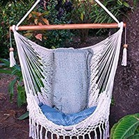 Hammock chair with macrame edge handmade cotton beige/ Indoor outdoor chair hammock/ Hanging chair swing