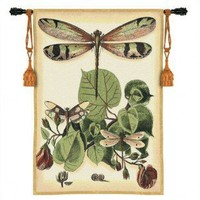 Fine Art Tapestries Whimsical Beige Dragonfly II Tapestry - 3121-WH - Decor