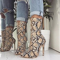 Lace-Up High Heels Women's Snake Print Ankle Boots