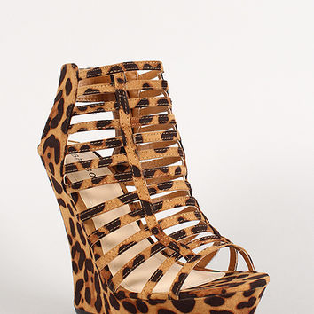 Bamboo Leopard Strappy Caged Open Toe Platform Wedge