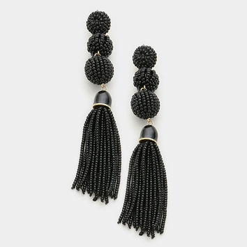 Black Seed Bead Triple Ball Tassel Drop Earrings, Statement Earrings, Bon Bon Tassel Earrings, Tri Tone Bead Earrings, Gift for Her