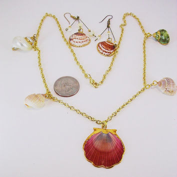 Conch Sea Shell Drops - Scallop Sea Shell Pendant - All Gold Tipped - Scallop Shell Earrings - Gold Plated Necklace - Gifts of the Sea