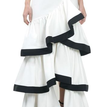 Contrast Hem Ruffle Layer Long Skirt