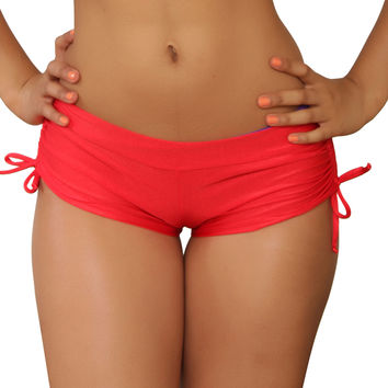 Cheeky Red Tie Side Shorts- Sassy Assy