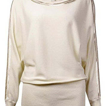 Ny Collection Embellished Cold-Shoulder Sweater