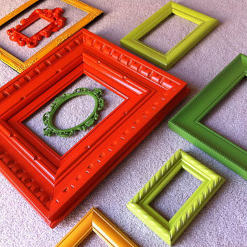 Funky Bright Home Decor Upcycled Vintage Frames by FeFiFoFun