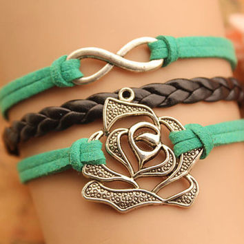 infinity bracelet,retro silver rose bracelet,black braid leather bracelet,green rope---B253