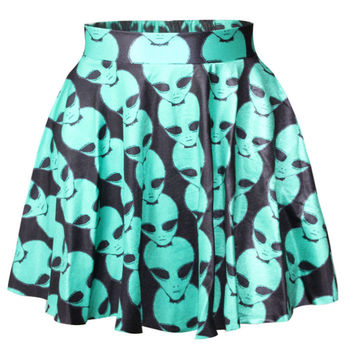 Printed Pleated Mini Skater Skirt