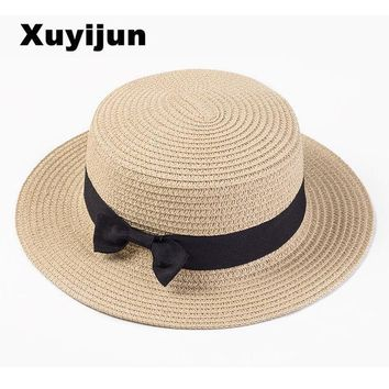 PEAPUNT Lady Boater sun caps Ribbon Round Flat Top Straw Fedora Panama Hat summer hats for women straw hat snapback gorras