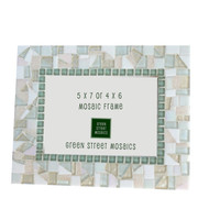White and Green Mosaic Picture Frame, 4 x 6 or 5 x 7