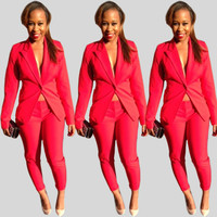 Pink Notched Collar Coat and Pants Set