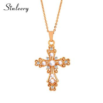 SINLEERY Vintage Baroque Simulated Pearl Hollow Cross Pendant Necklace Chain For Women Girl Christmas Chic Jewelry Xl283 SSF