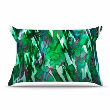 "Ebi Emporium ""Frosty Bouquet 7"" Green Abstract Pillow Case"