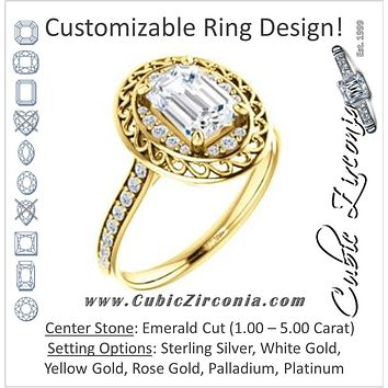 Cubic Zirconia Engagement Ring- The Ariané Contessa (Customizable Cathedral-style Emerald Cut featuring Cluster Accented Filigree Setting & Pavé Band)