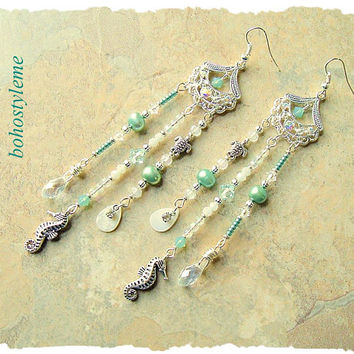 Bohemian Jewelry, bohostyleme, Long Lightweight Chandelier Earrings, Seahorse Earrings, Handmade Earrings, Kaye Kraus