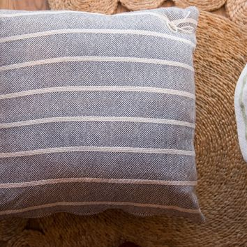 Hand-woven Striped Pillow in Gray