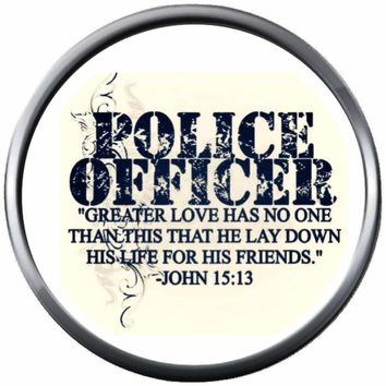 Police Lay Down Life Thin Blue Line Police Officer Sheriff Support  18MM - 20MM Snap Charm Jewelry New Item