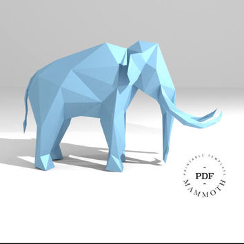 Printable DIY template (PDF).  Mammoth low poly paper model. 3D animal paper sculpture. Origami. Papercraft. Cardboard animal.