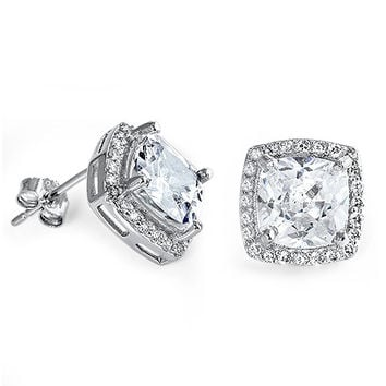 Sterling Silver CZ Simulated Diamond 11MM Princess Cut Halo Earrings