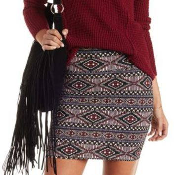 Lt Pink Combo Tribal Print Bodycon Mini Skirt by Charlotte Russe