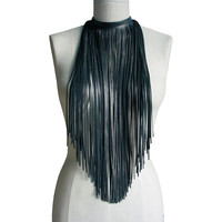 Minimalist Hippie Long Leather Fringe Scarf Choker