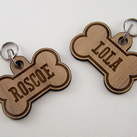 Wooden Pet ID Tags - Custom Dog Bone Collar Charm Laser Cut