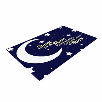 "NL Designs ""Moon And Stars Quote"" Blue White Woven Area Rug"