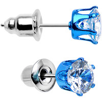 5mm Neon Blue Round Clear CZ Stud Earrings | Body Candy Body Jewelry